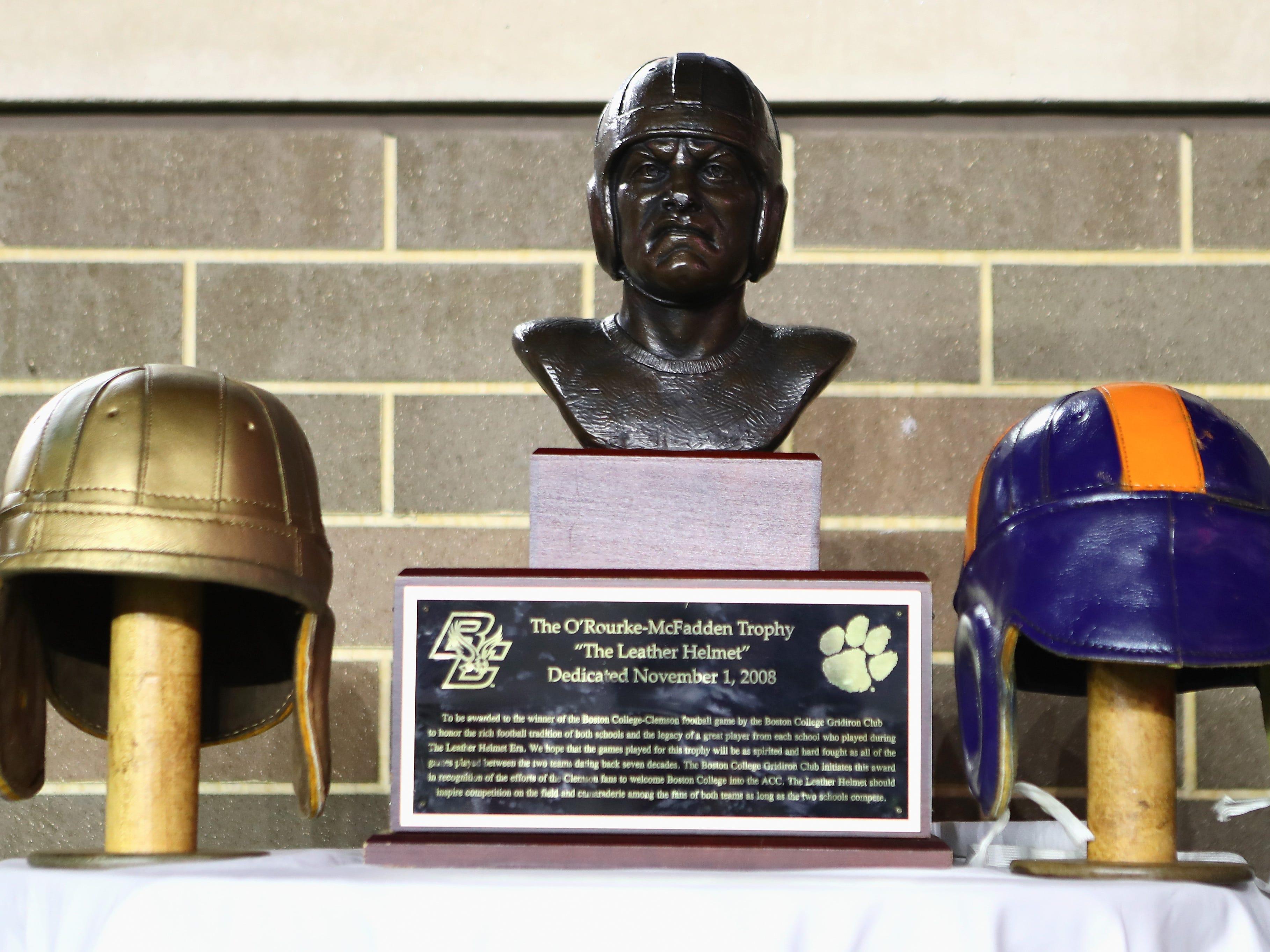 "O'Rourke-McFadden Trophy: Clemson beat Boston College, 27-7, to claim ""The Leather Helmet"" at Alumni Stadium  in Chestnut Hill, Massachusetts."