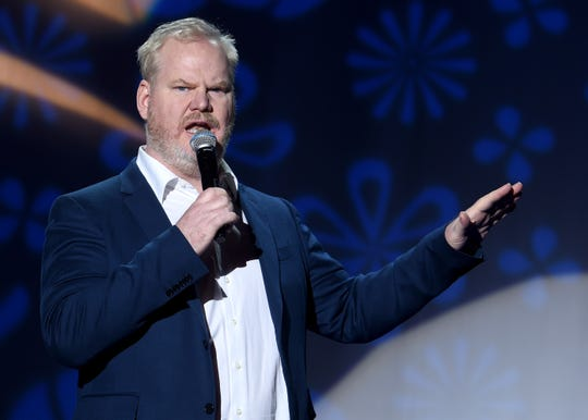 NEW YORK, NY - NOVEMBER 10:  Jim Gaffigan performs on stage at A Funny Thing Happened On The Way To Cure Parkinson's benefitting The Michael J. Fox Foundation at the Hilton New York on November 10, 2018.  (Photo by Jamie McCarthy/Getty Images) ORG XMIT: 775254797 ORIG FILE ID: 1060104036
