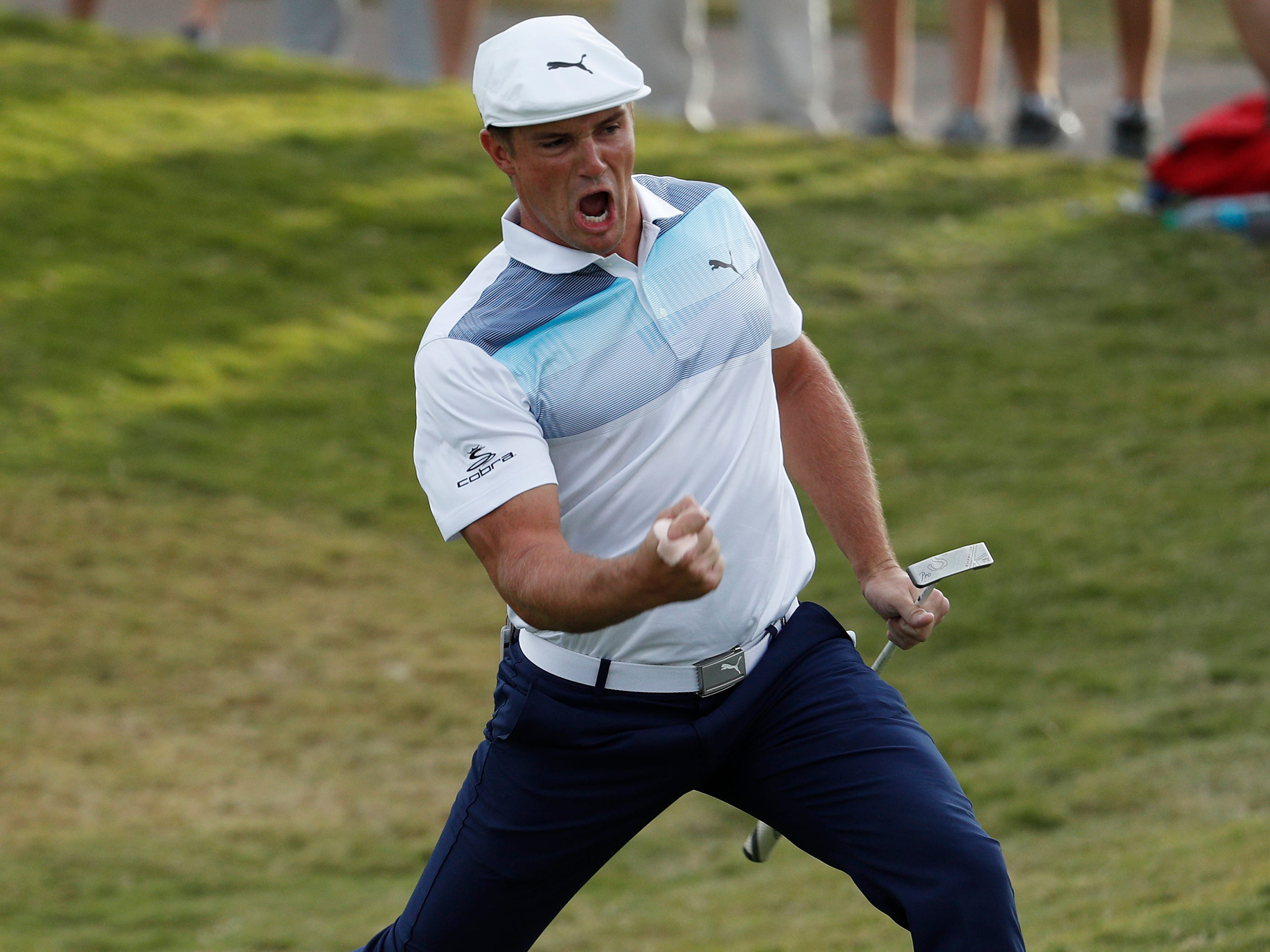 Nov. 4: Bryson DeChambeau celebrates after sinking a putt for an eagle during his win at the Shriners Hospitals for Children Open golf tournament.