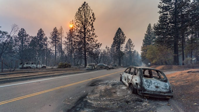 The Camp Fire swept through Paradise, CA destroying more than 6,500 structures and the death toll has risen to 23.  November 11, 2018 (Via OlyDrop)