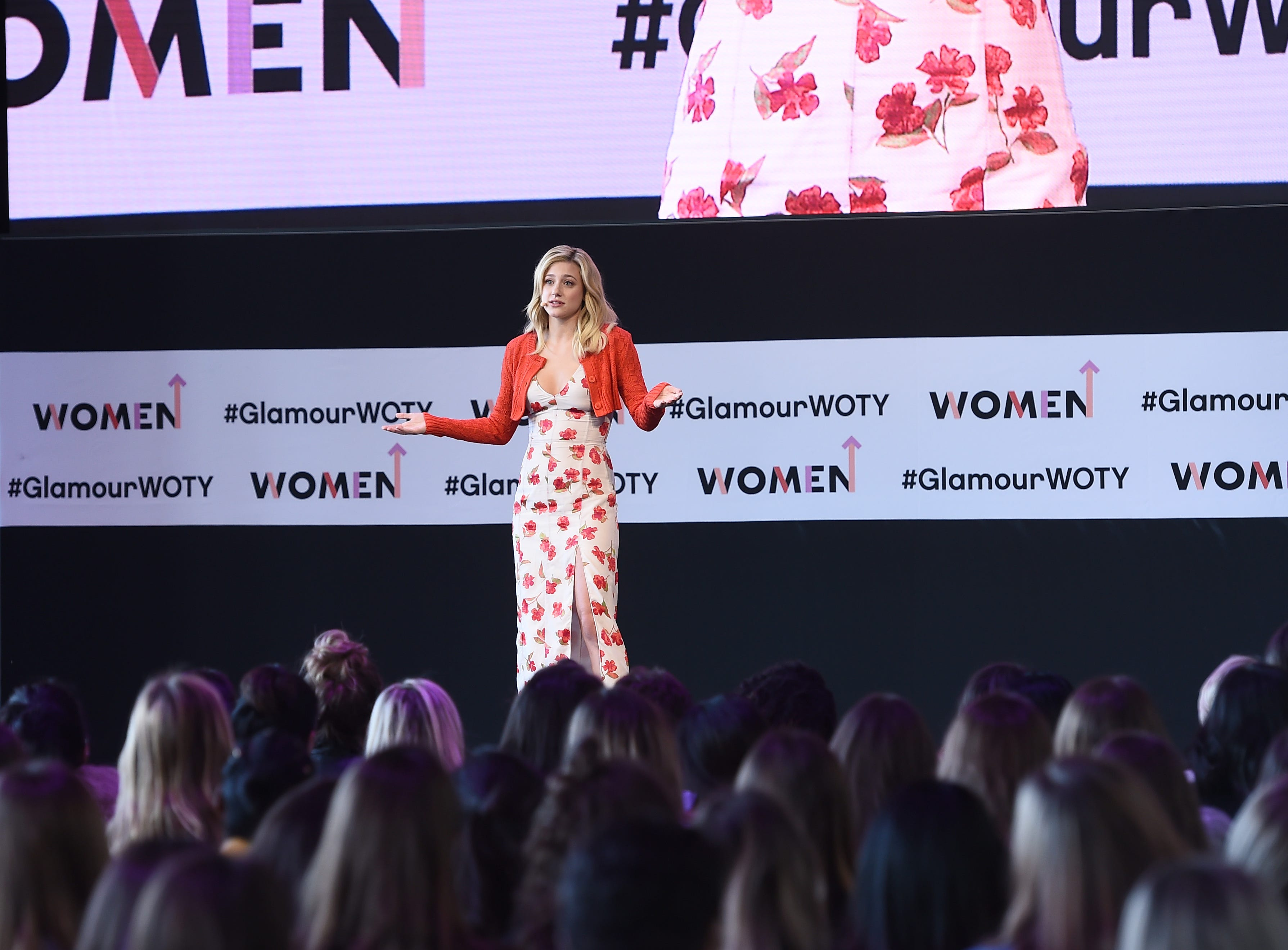NEW YORK, NY - NOVEMBER 11:  Lili Reinhart speaks onstage during panel at 2018 Glamour Women Of The Year Summit:  Women Rise at Spring Studios on November 11, 2018 in New York City.  (Photo by Ilya S. Savenok/Getty Images for Glamour) ORG XMIT: 775248521 ORIG FILE ID: 1060237660