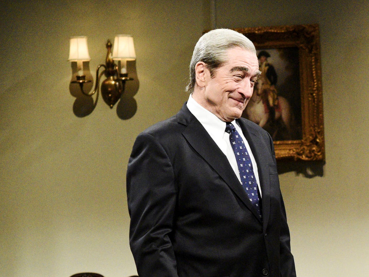 "Robert De Niro made a surprise guest appearance, reprising his role as independent counsel Robert Mueller, who came to bid farewell to ousted  Attorney General Jeff Sessions (Kate McKinnon). Mueller assured Sessions that he helped in the investigation ""more than you'll ever know,"" before leaving him with a parting gift.""You know in 'Harry Potter' when an elf gets a piece of clothing and it sets him free?"" Mueller said, producing a piece of toilet paper that had been stuck to President Trump's shoe. ""This is for you."""