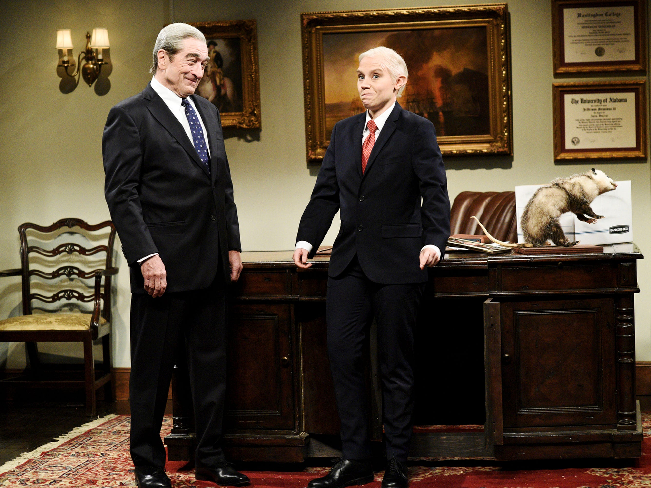 """Robert De Niro made a surprise guest appearance, reprising his role as independent counsel Robert Mueller, who came to bid farewell to ousted  Attorney General Jeff Sessions (Kate McKinnon). Mueller assured Sessions that he helped in the investigation """"more than you'll ever know,"""" before leaving him with a parting gift.""""You know in 'Harry Potter' when an elf gets a piece of clothing and it sets him free?"""" Mueller said, producing a piece of toilet paper that had been stuck to President Trump's shoe. """"This is for you."""""""