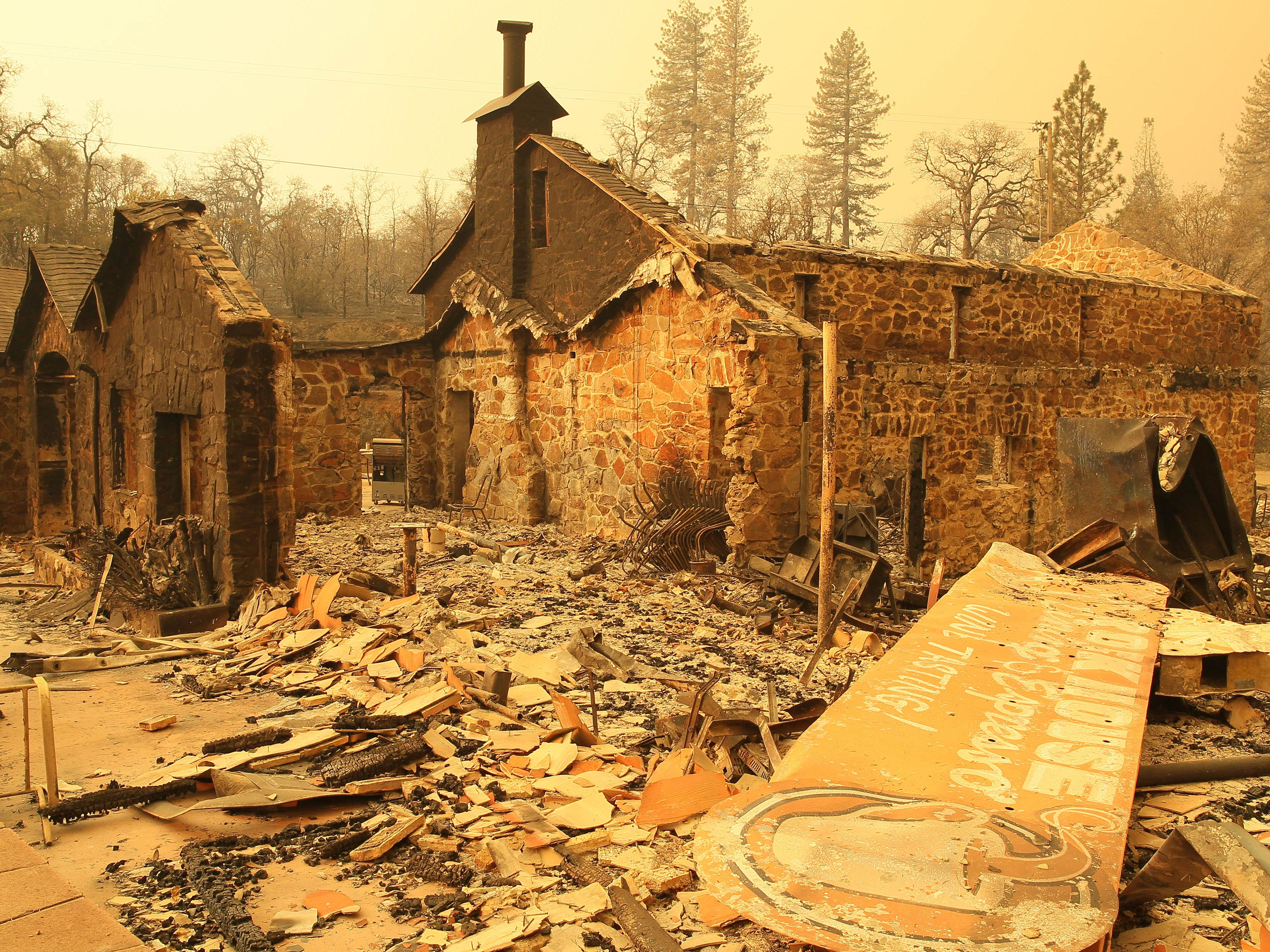 The remains of the Rock House, Dining & Espresso restaurant destroyed by the Camp Fire in Yankee Hill, Calif. on Nov. 11, 2018.