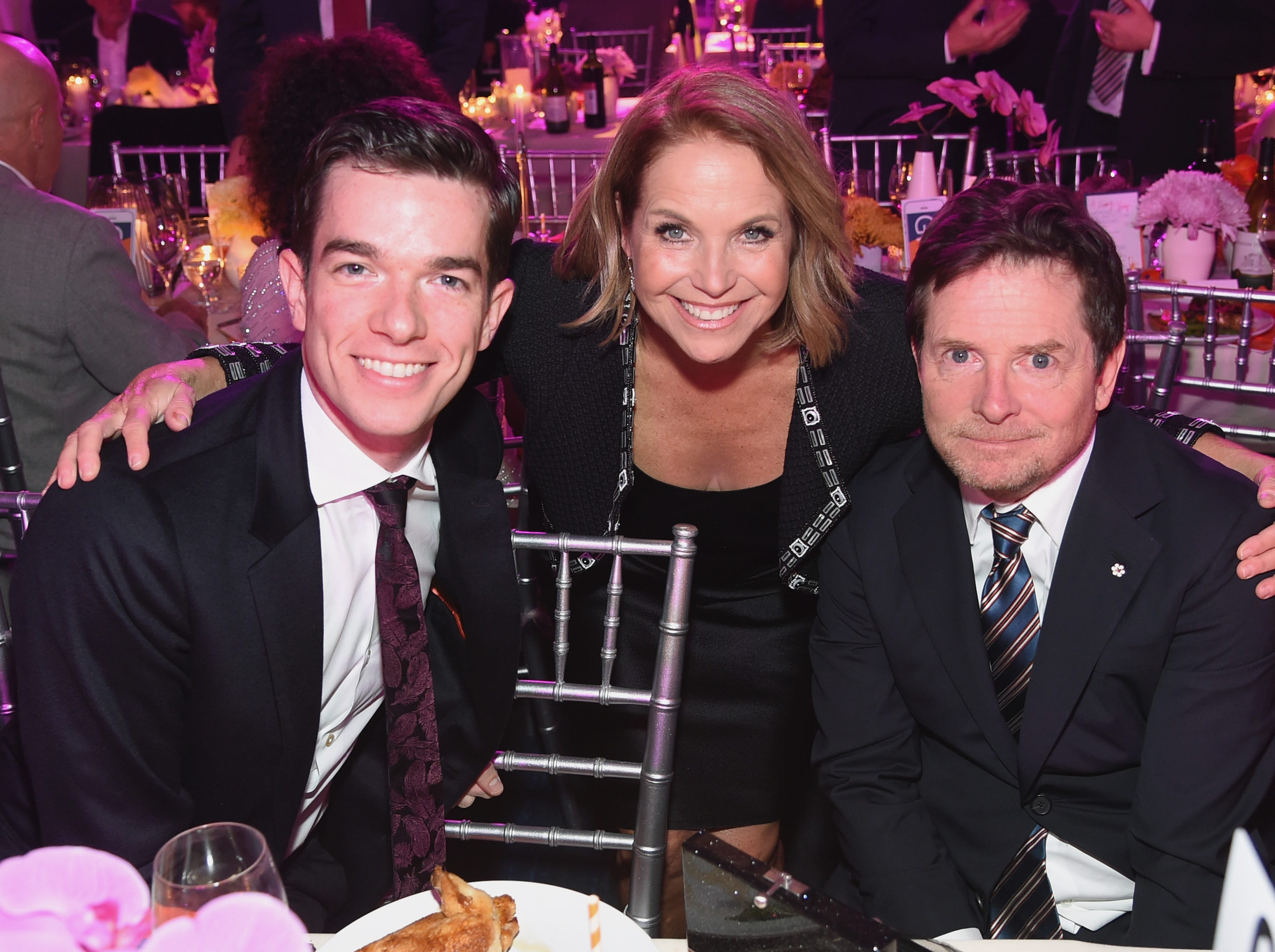 NEW YORK, NY - NOVEMBER 10:  John Mulaney, Katie Couric, and Michael J. Fox attend A Funny Thing Happened On The Way To Cure Parkinson's benefitting The Michael J. Fox Foundation at the Hilton New York on November 10, 2018.  (Photo by Jamie McCarthy/Getty Images) ORG XMIT: 775254797 ORIG FILE ID: 1060104112