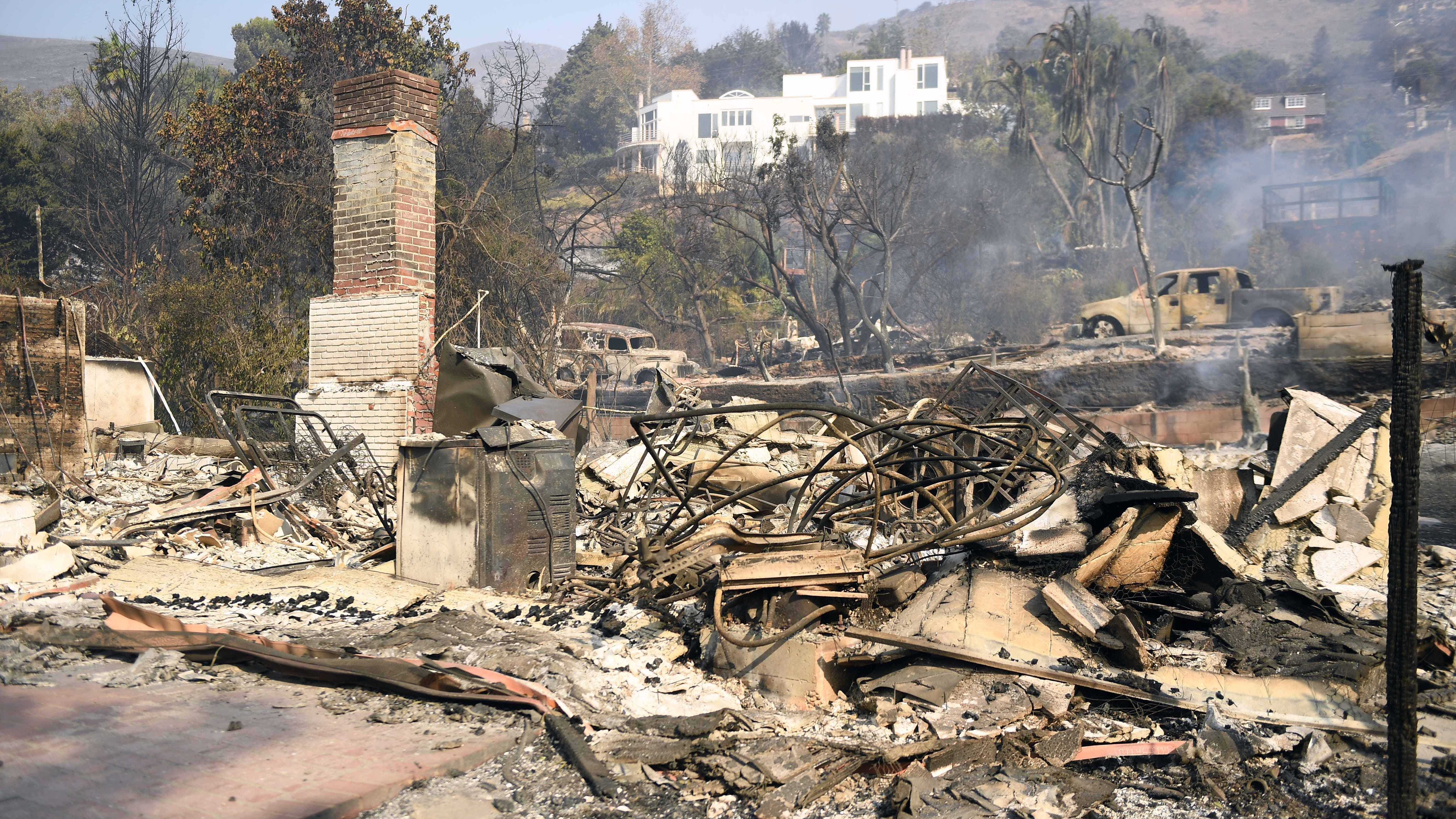 The charred remains of a home in Malibu, Calif. on Nov. 11, 2018 caused by the Woosley Fire.