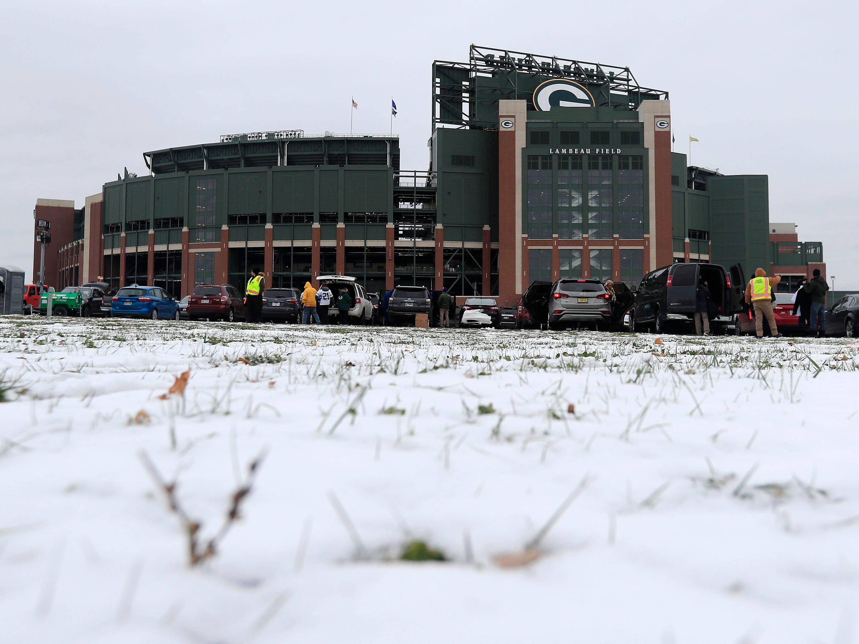 Week 10: Snow covers the ground outside Lambeau Field prior to the game between the Miami Dolphins and the Green Bay Packers. The Packers won the game, 31-12.