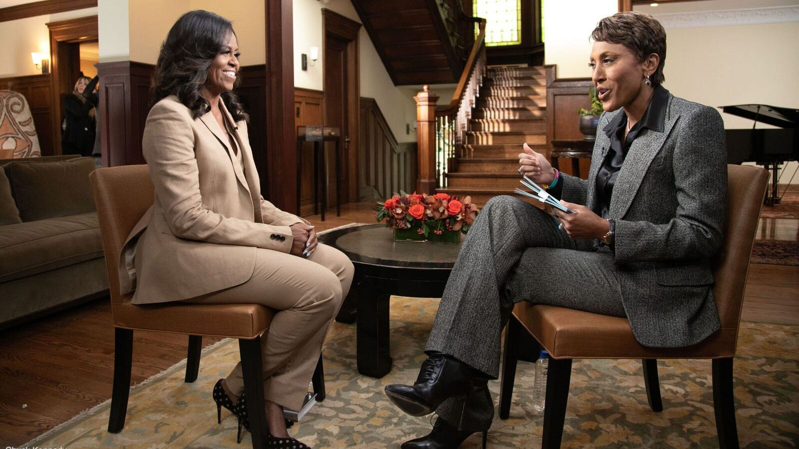 """Former first lady Michelle Obama took """"Good Morning America"""" anchor Robin Roberts back to her childhood home in the South Side of Chicago ahead of the release of her memoir, """"Becoming."""""""