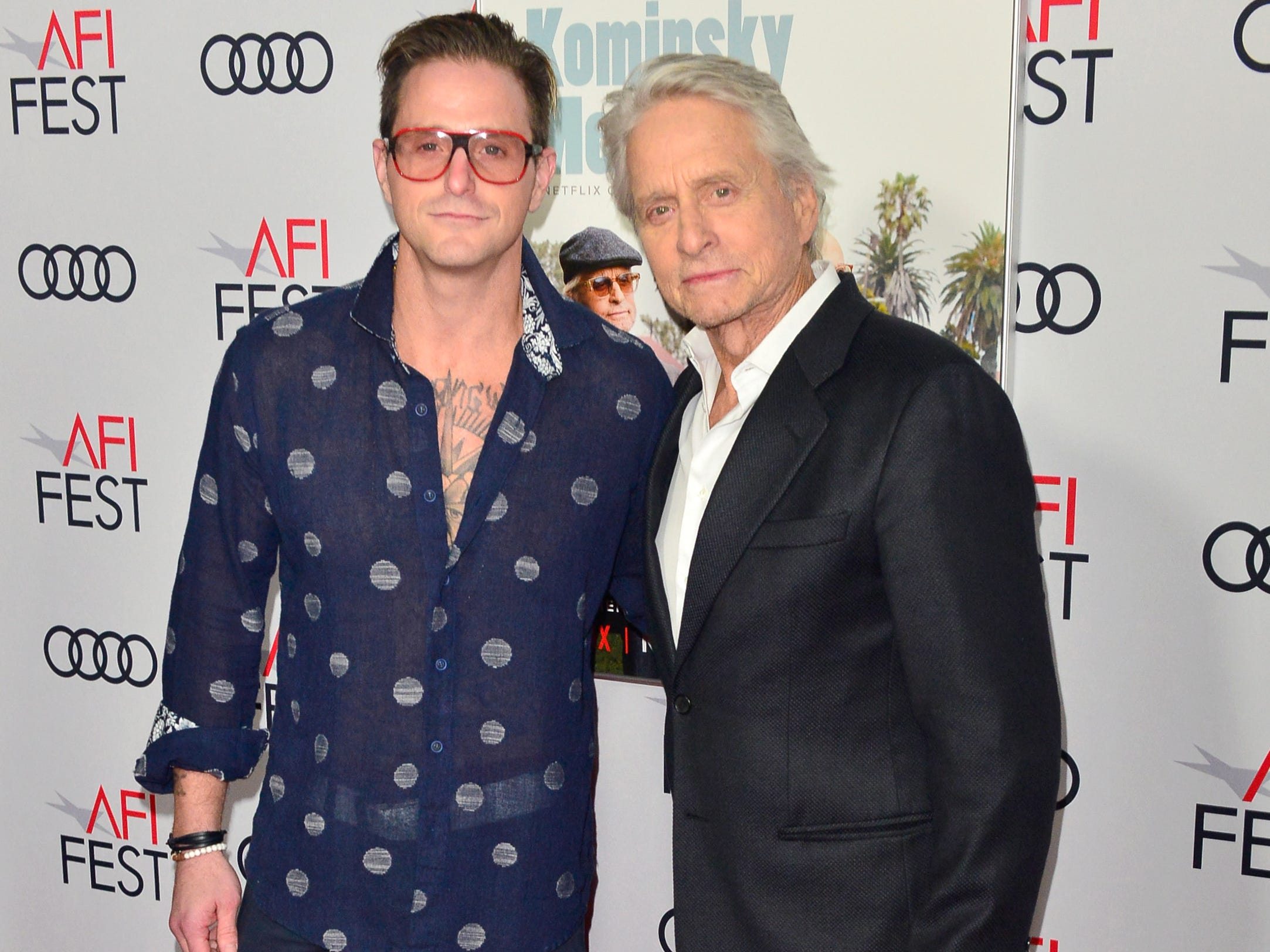 "HOLLYWOOD, CA - NOVEMBER 10:  Cameron Douglas (L) and Michael Douglas attend the Gala Screening of ""The Kominsky Method"" at AFI FEST 2018 Presented By Audi at TCL Chinese Theatre on November 10, 2018 in Hollywood, California.  (Photo by Jerod Harris/Getty Images) ORG XMIT: 775252142 ORIG FILE ID: 1060101888"