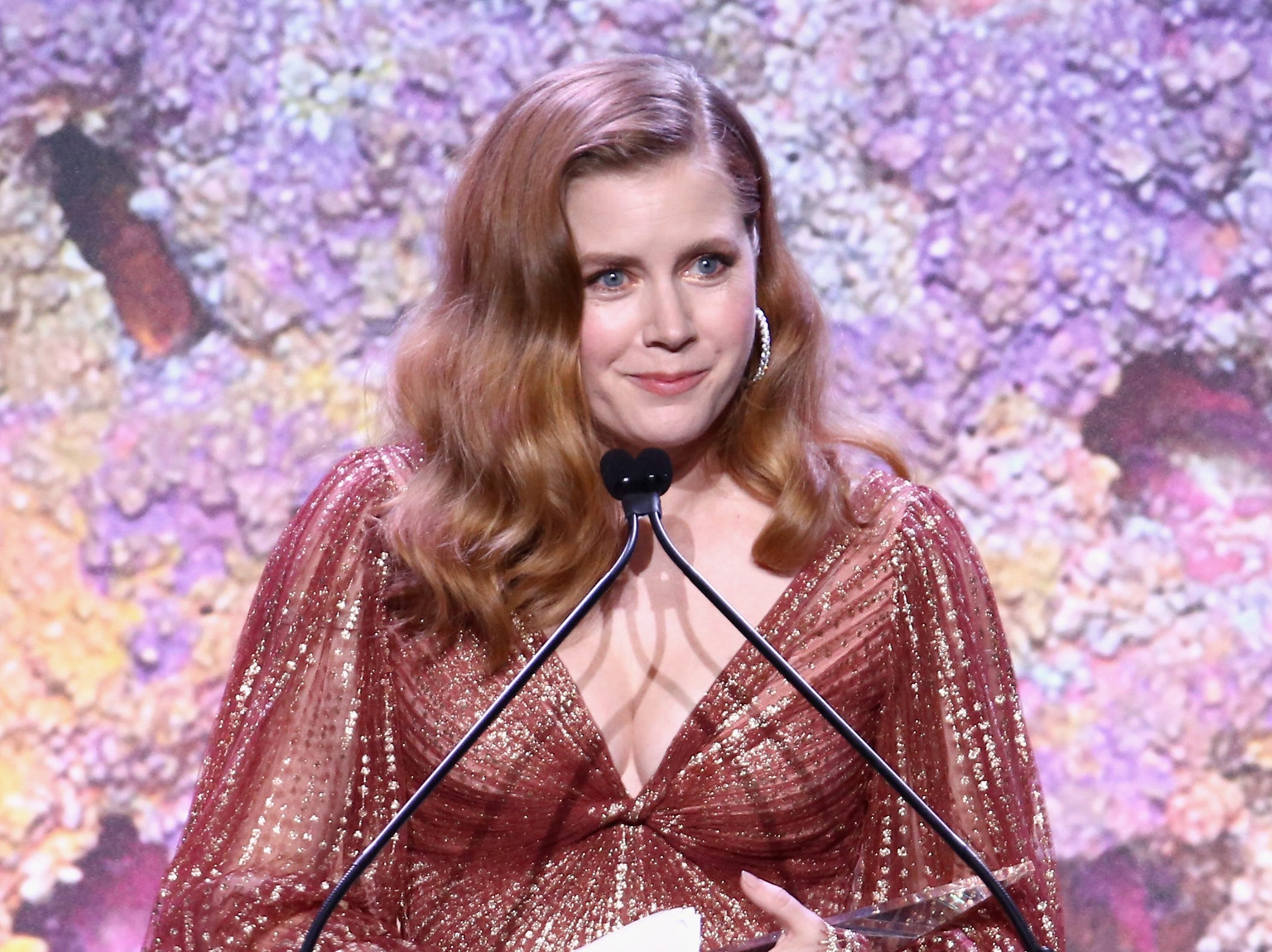 CULVER CITY, CA - NOVEMBER 10: Honoree Amy Adams speaks onstage at the 2018 Baby2Baby Gala Presented by Paul Mitchell at 3LABS on November 10, 2018 in Culver City, California.  (Photo by Tommaso Boddi/Getty Images for Baby2Baby) ORG XMIT: 775255853 ORIG FILE ID: 1060110262