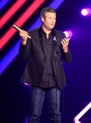 "Blake Shelton, ""The Country Artist of 2018"" on stage during the 2018 E! People's Choice Awards held at the Barker Hangar on Nov. 11, 2018."