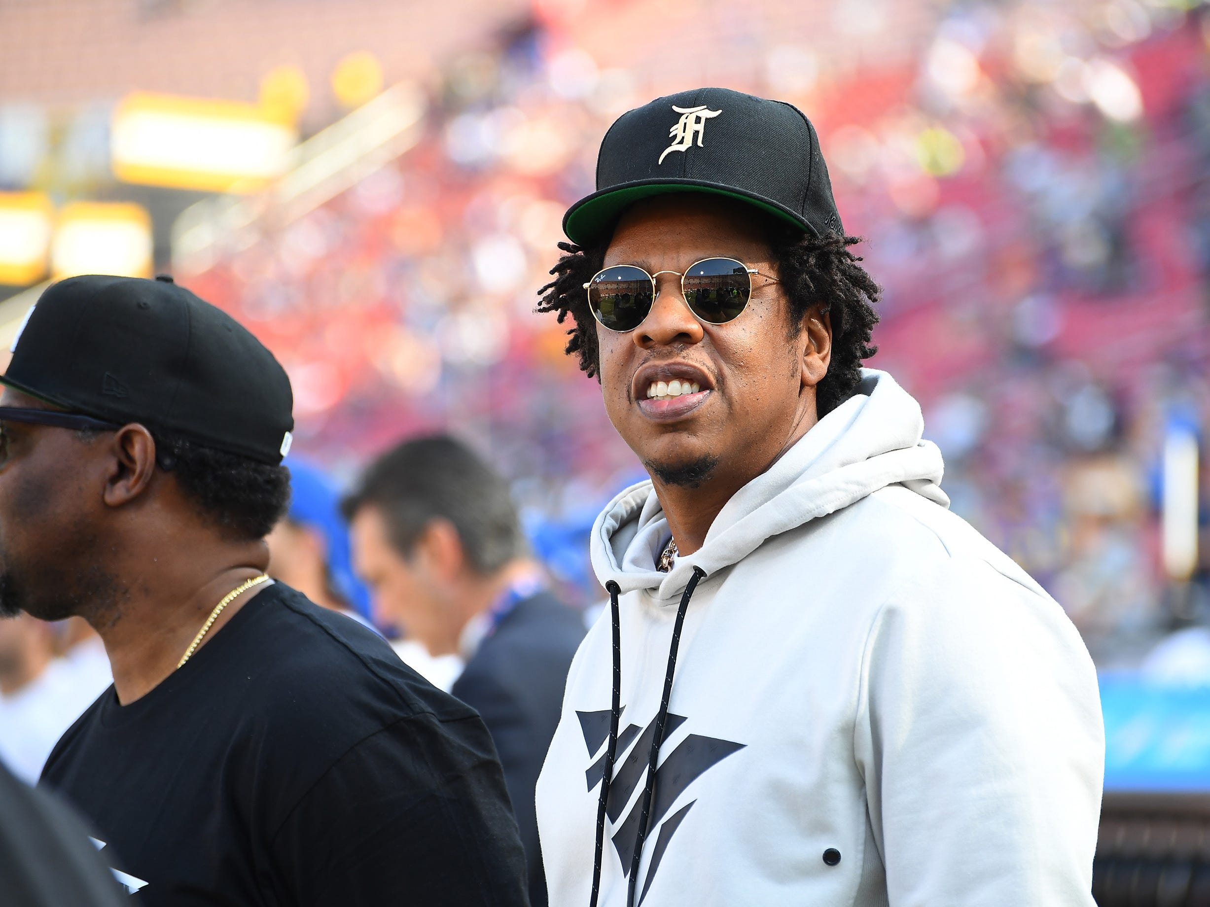 Nov 11, 2018; Los Angeles, CA, USA; Recording artist Jay-Z watches pre-game from the sidelines before a game between the Los Angeles Rams and the Seattle Seahawks at the Memorial Coliseum. Mandatory Credit: Jayne Kamin-Oncea-USA TODAY Sports ORG XMIT: USATSI-381526 ORIG FILE ID:  20181111_gma_aj4_134.jpg
