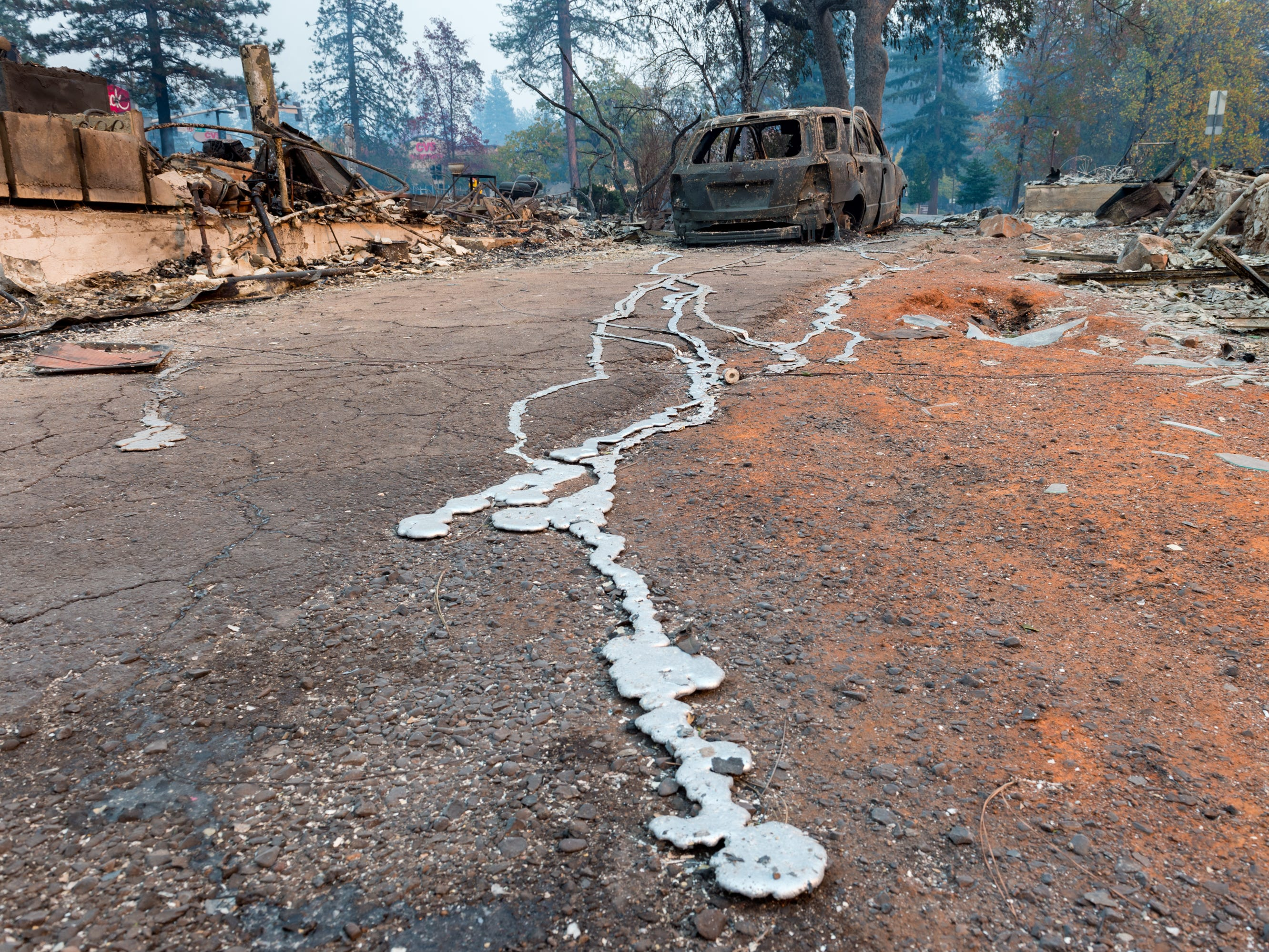 The charred landscape in Paradise, Calif. left by the Camp Fire on Nov. 11, 2018.
