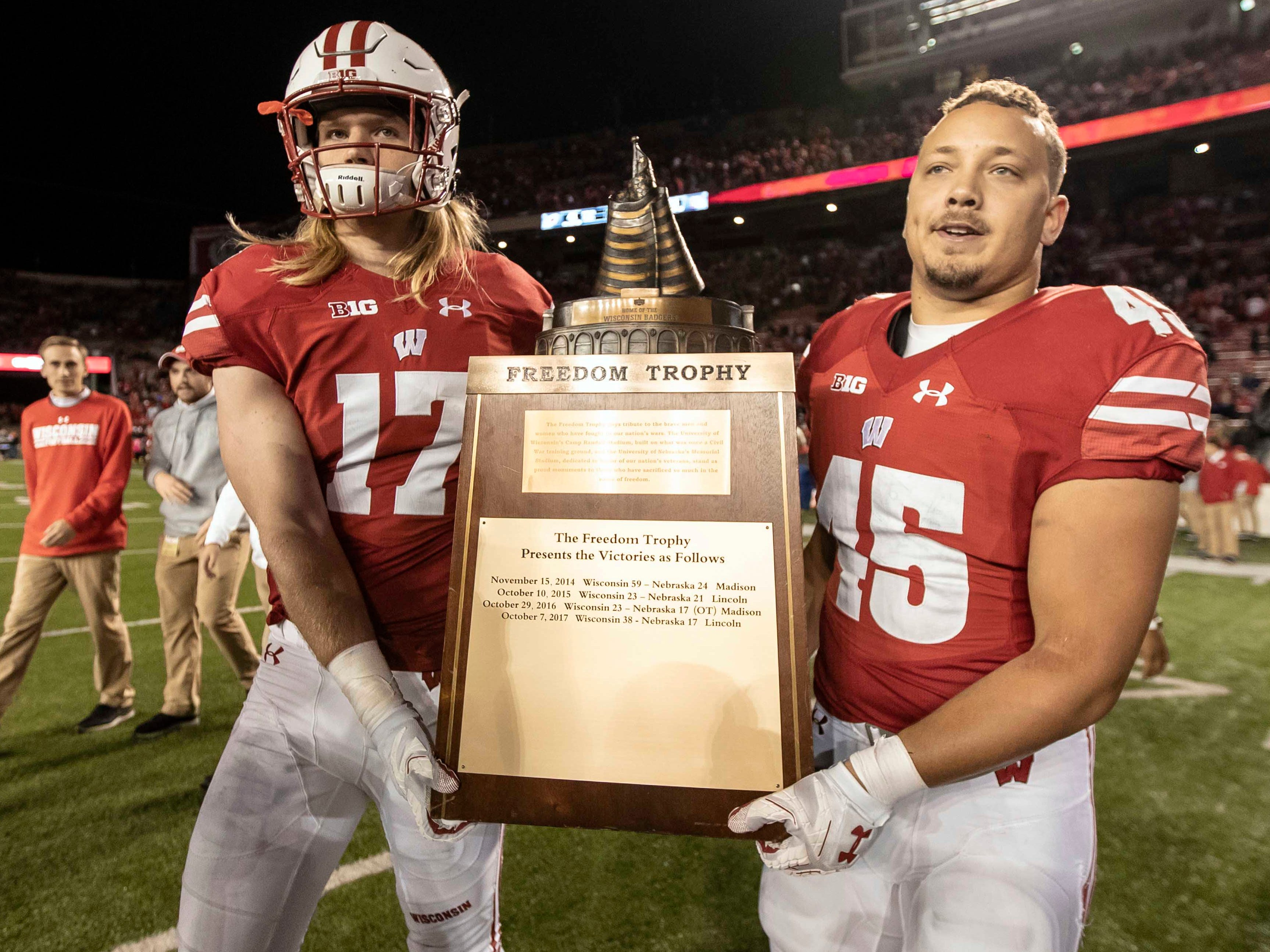 Freedom Trophy: Wisconsin linebacker Andrew Van Ginkel (17) and fullback Alec Ingold (45) carry the Freedom Trophy after a 41-24 win over Nebraska  at Camp Randall Stadium on Oct. 6.