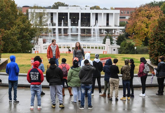 Prospective Clemson students from Chester High School tour campus with guides M.J. Carpenter and Trey Lockett in November.