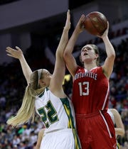 Hortonville's Macy McGlone, right, shoots over Beaver Dam's Afton Bartol during the state tournament last March in Ashwaubenon.