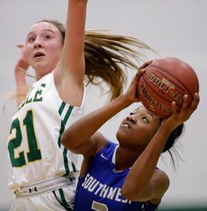 Green Bay Southwest's Jaddan Simmons, right, is one of the top girls basketball players in Wisconsin.