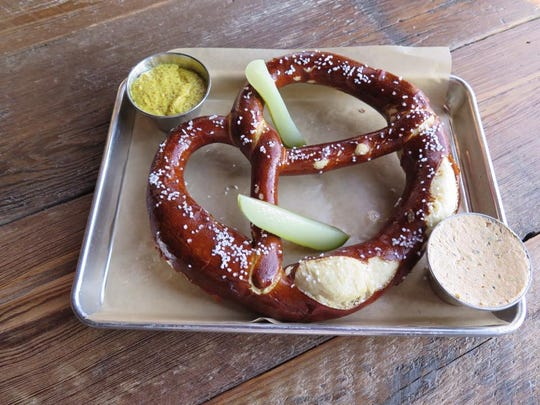 If you visit Asbury Festhalle & Biergarten, don't miss out on the huge Bavarian pretzel - and ask for an extra cup of the liptauer cheese.