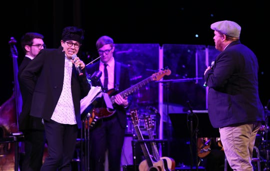 George Salazar and Jason SweetTooth Williams on stage at the Dramatists Guild Foundation 2018 gala at the Manhattan Center Ballroom on Nov. 12, 2018 in New York City.