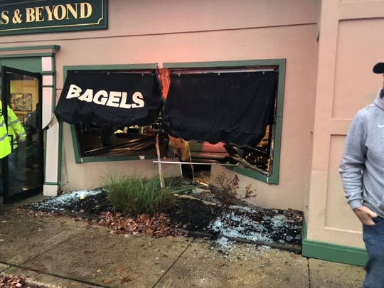 A car plowed through a bagel shop in Stafford Tuesday morning.
