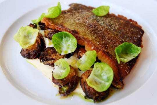 Milton's mountain trout with Brussels sprouts and parsnip puree.