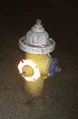 These reflective rings on fire hydrants in Fletcher help with visibility, and different colors delineate varying water pressure.