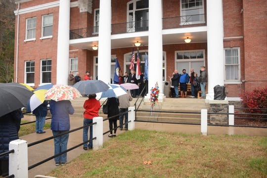 "Alderman Christiaan Ramsey sang the ""Star Spangled Banner"" during Marshall's Veterans Day commemoration."