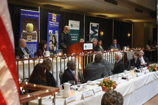 """Roger L. Brooks, creator of the """"American Real"""" podcast, served as the keynote speaker at the Binghamton Chamber's 22nd Annual Community Thanksgiving Luncheon Tuesday afternoon."""