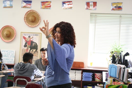 Magdala Bedrin teaches her Spanish Johnson City High School Spanish class on Oct. 31.