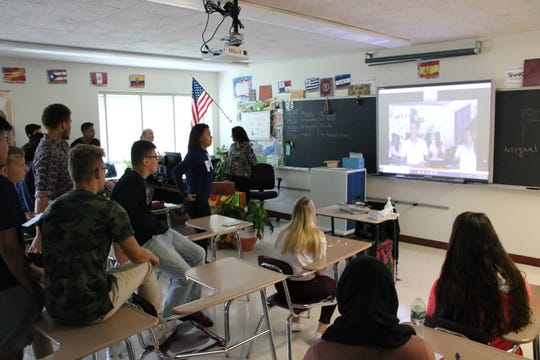 Magdala Bedrin's Johnson City High School students speak to students enrolled at Loma de Piedra, a school in Barranquilla, Colombia.
