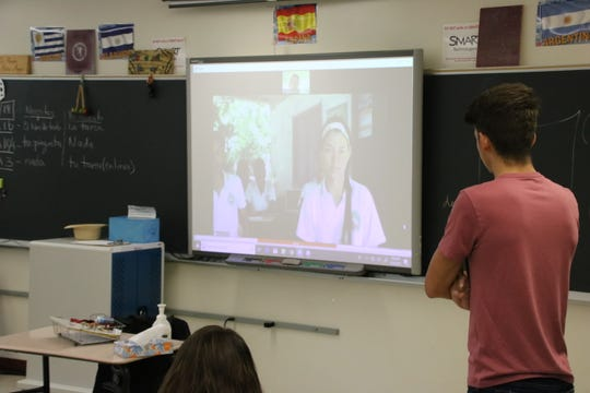 Using video chat, Magdala Bedrin's Johnson City High School students have been commuicating with students enrolled at Loma de Piedra, a school in Barranquilla, Colombia.