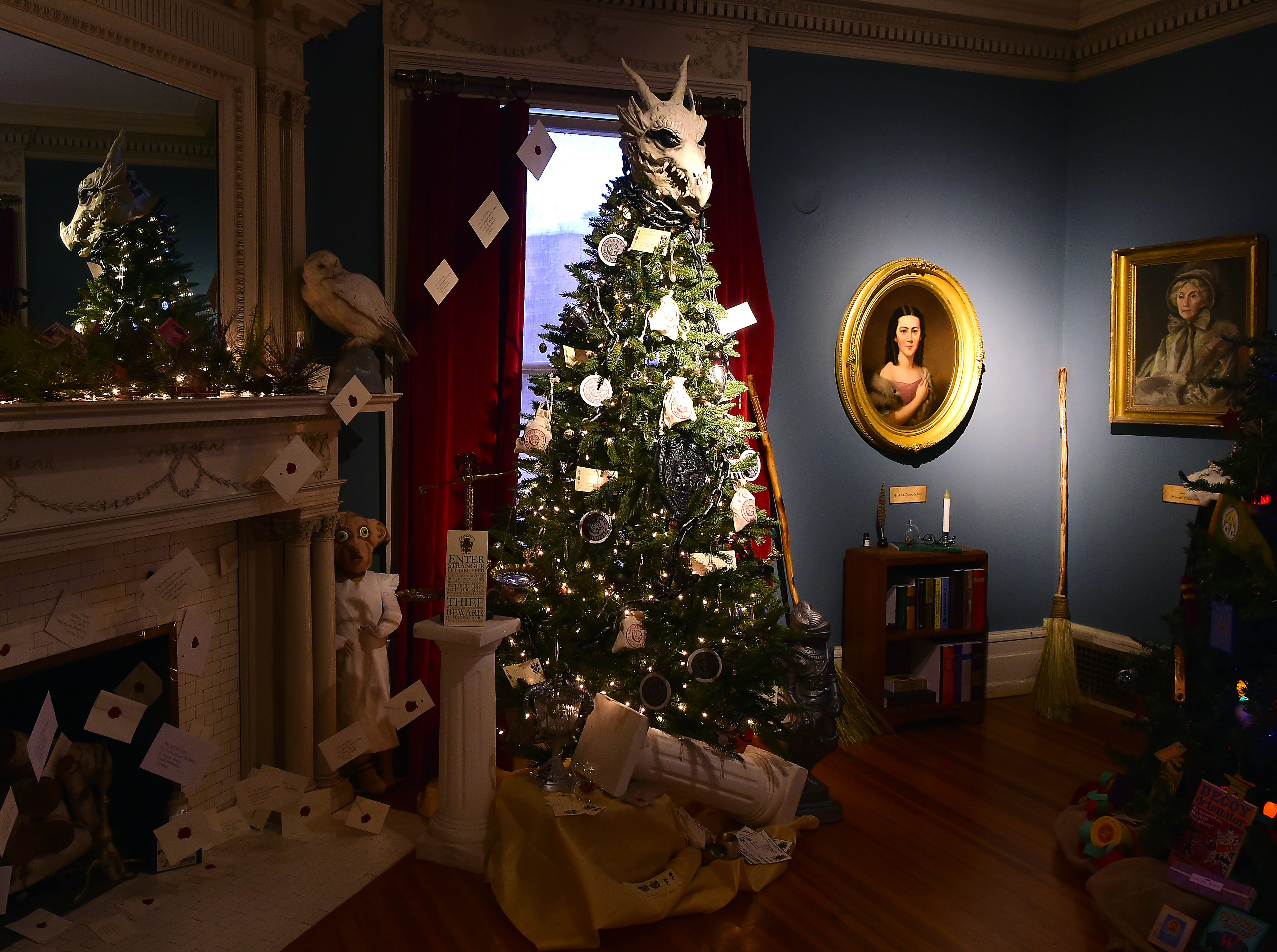 A room featuring Harry Potter trees and decorations, decorated by the Grasso family. Roberson Museum and Science Center's annual Home for the Holidays event opens on November 14 and continues through January 6. The event features hundreds of elaborately decorated holiday trees and displays. November 12, 2018.
