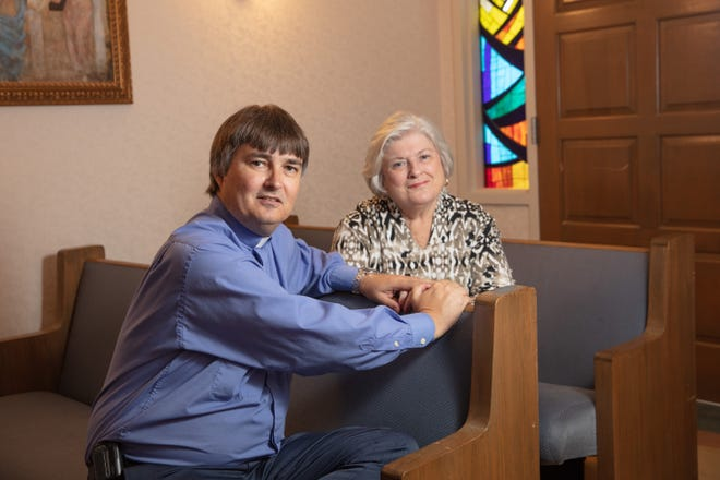 """Kathleen Pfaff, left, with the Rev. Chaplain Derly Foerste, Manager of Pastoral and Spiritual Care at Health First. Pfaff volunteers with the """"No One Dies Alone"""" program."""