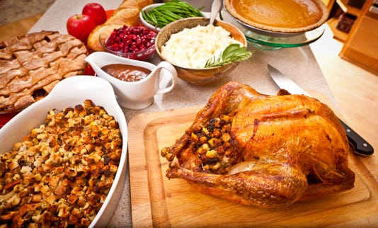 Thanksgiving And Christmas Dinner With Roast Turkey And Accompaniments