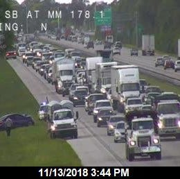 A traffic jam on south Interstate 95 near West Melbourne happened Tuesday afternoon after a crash.