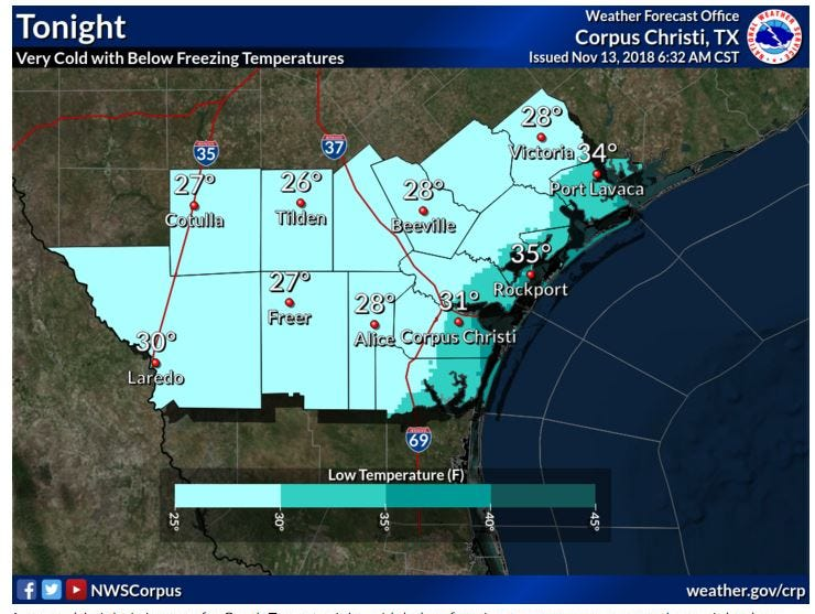 Here's how cold it will get in South Texas this week