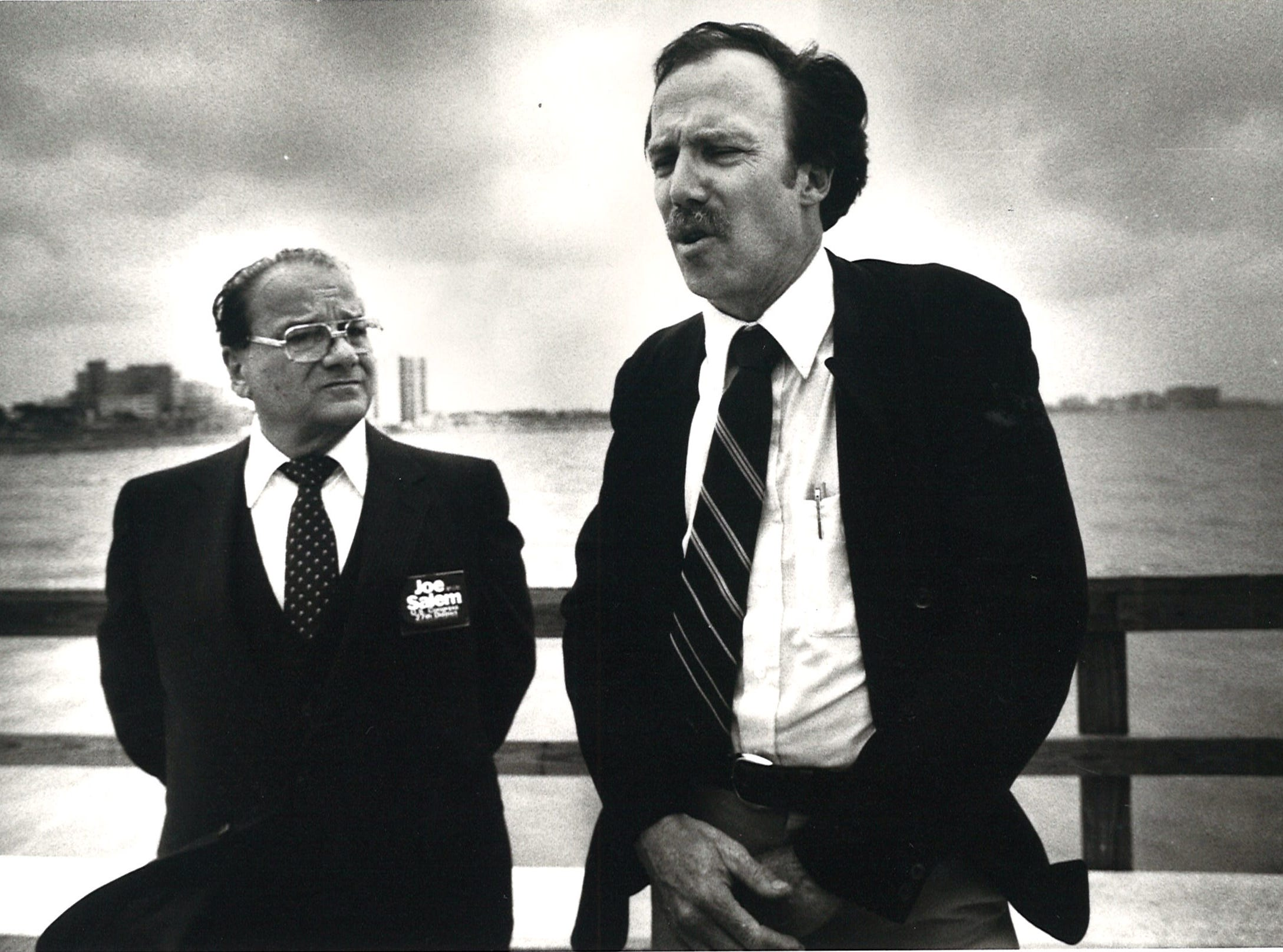 Ted Jones (right), of the Coastal Bend Audubon Society announces the society's endorsement of Joe Salem (left) for the 27th Congressional District while standing on the Cole Park Pier on May 11, 1982.
