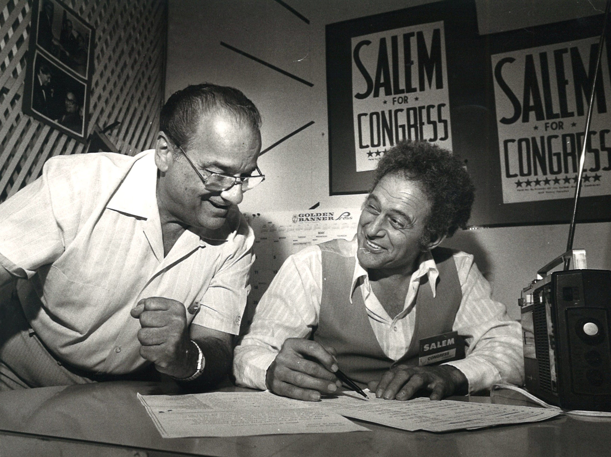 Joe Salem (left), with his campaign coordinator Lou Desmaris (right) on May 3, 1980.