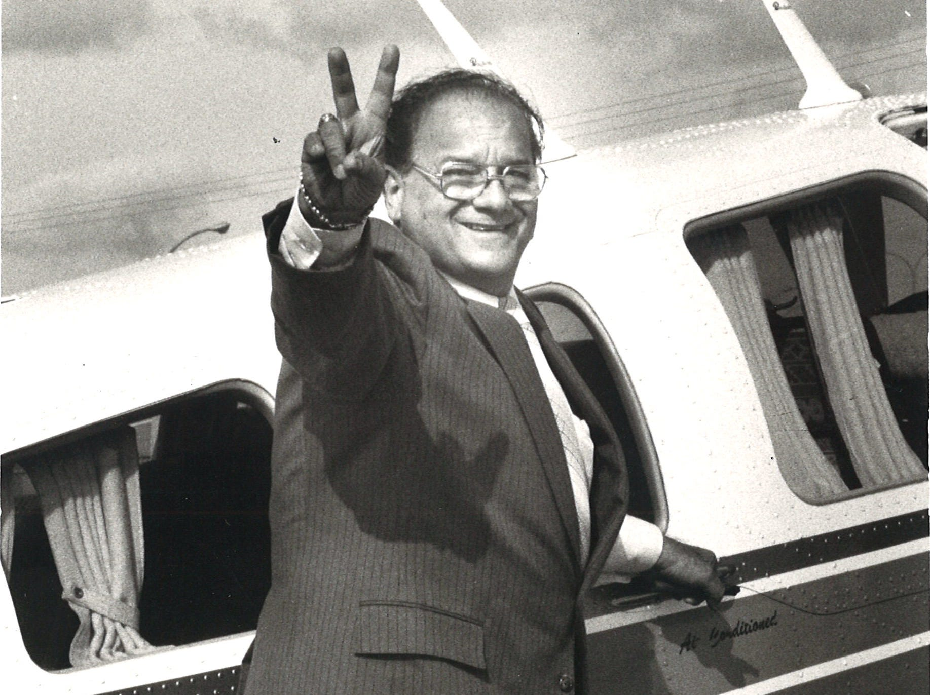 Joe Salem at Corpus Christi International Airport June 5, 1982 while campaigning for the 27th District seat.