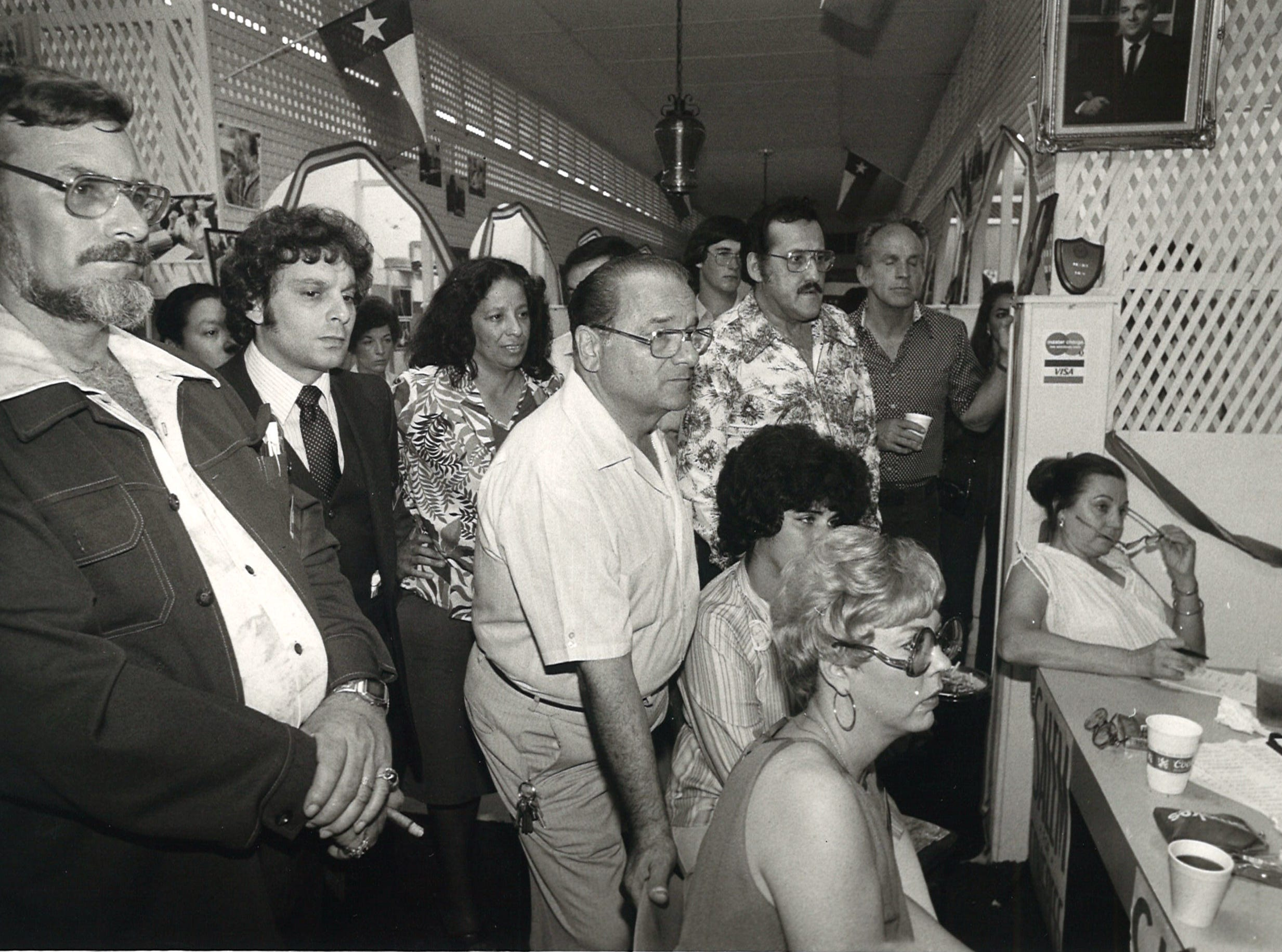 Joe Salem watches election night returns on TV at campaign headquarters with his supporters on May 3, 1980.