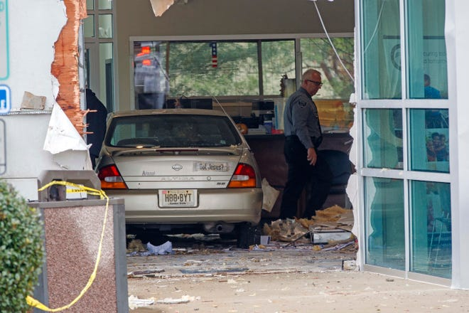 A car crashed into a Social Security office Tuesday in Egg Harbor.