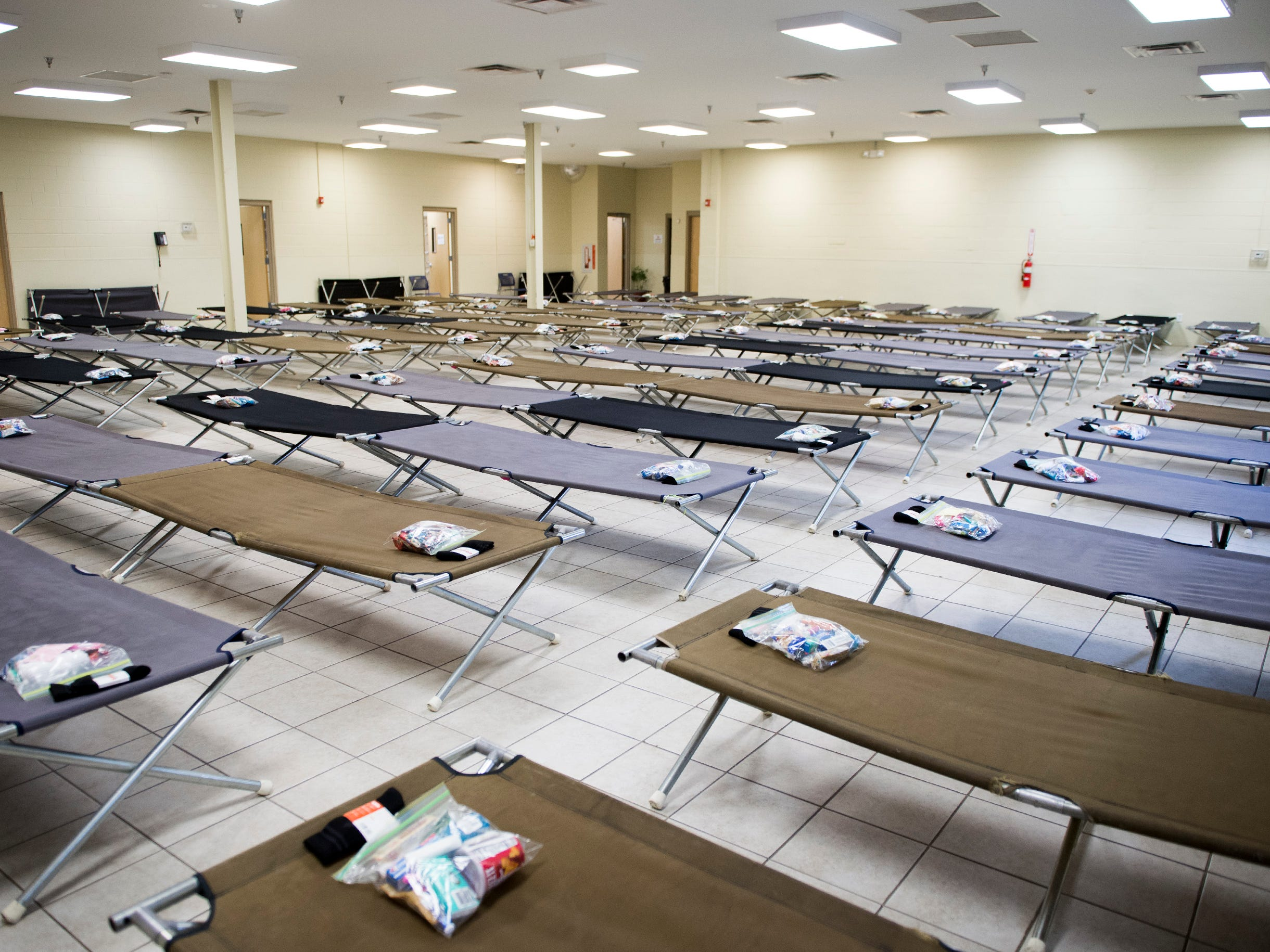 Cots are set up for guests Tuesday, Nov. 13, 2018 at Joseph's House in Camden, N.J.