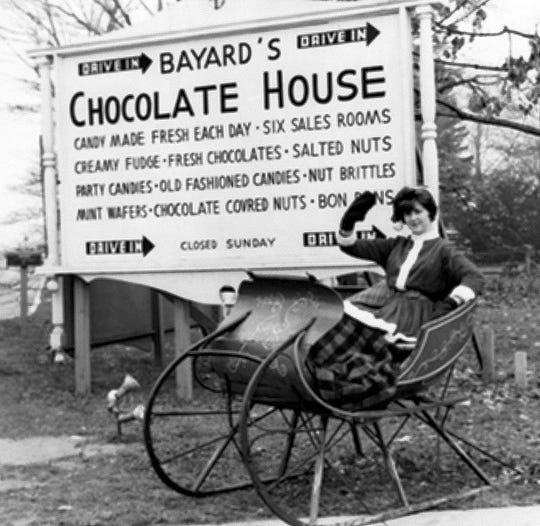 A vintage photo shows Bayard's Chocolate House, which opened in 1939 in South Jersey. The candy company's current owner has filed for bankruptcy but said stores will remain open.