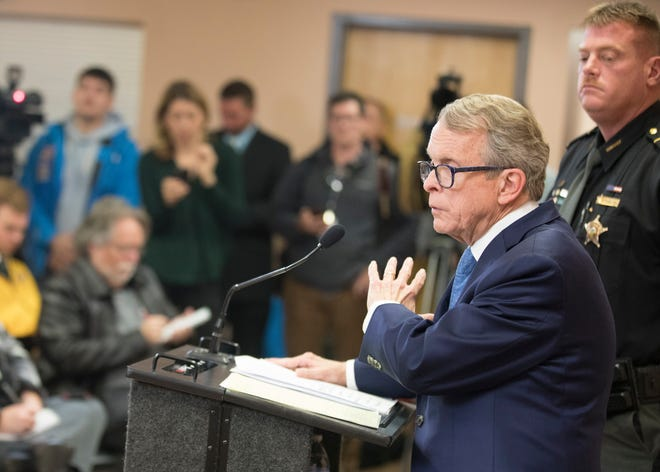 Attorney General, and Governor-elect, Mike DeWine addresses the media concerning the arrests of four members of the Wagner family in connection with the brutal murders of  the Rhoden family in 2016 on Tuesday, November 13, 2018 in Waverly, Ohio.