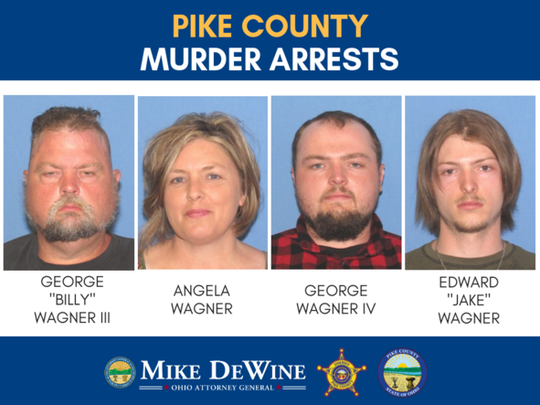 A man, his wife and their two sons have been charged with aggravated murder in the 2016 slayings of eight people in Pike County.