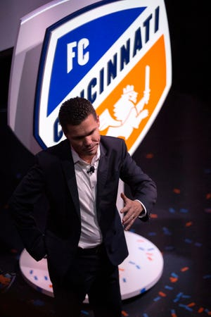 Team manager Alan Koch thanks fans for their support in the team's path to Major League Soccer during an event to unveil FC Cincinnati's new MLS branding at the Woodward Theater in the Over-the-Rhine neighborhood of Cincinnati on Monday, Nov. 12, 2018.