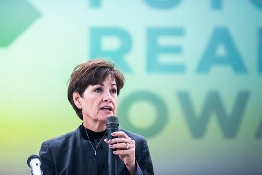 Iowa Governor Kim Reynolds speaks to the crowd during an event celebrating national registered apprenticeship week on Tuesday, Nov. 13, 2018, at the Ottumwa Job Corps Center.