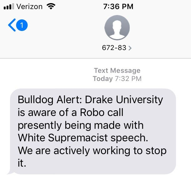 Drake University students receive white supremacist robocalls Monday night, officials say