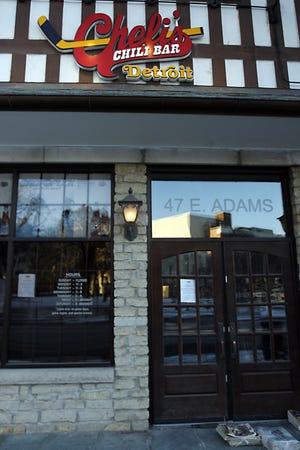 Entrance of Cheli's Chili Bar at 47 E. Adams in Detroit.