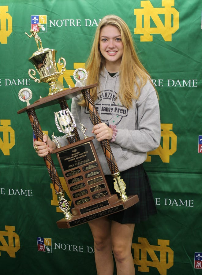 Pontiac Notre Dame Prep's Madeline Chinn poses with the 2018 Michigan Miss Volleyball trophy on Tuesday, Nov. 13, 2018, at Notre Dame Prep.